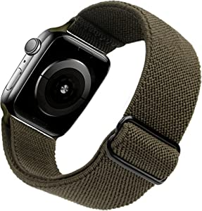 Arae Stretchy Nylon Watch Band Compatible with Apple Watch Band 40mm 38mm Adjustable Elastic Sport Band for iWatch Series 6 5 4 SE 3 2 1 Women Men - Olive Green, 38/40mm