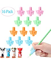 R HORSE Pencil Grips for Handwriting Aid, Silicone Posture Correction Training Tool with Cute Pen Nib, Writing Aid Grip Set for Preschool Children Kids (16 Pack)