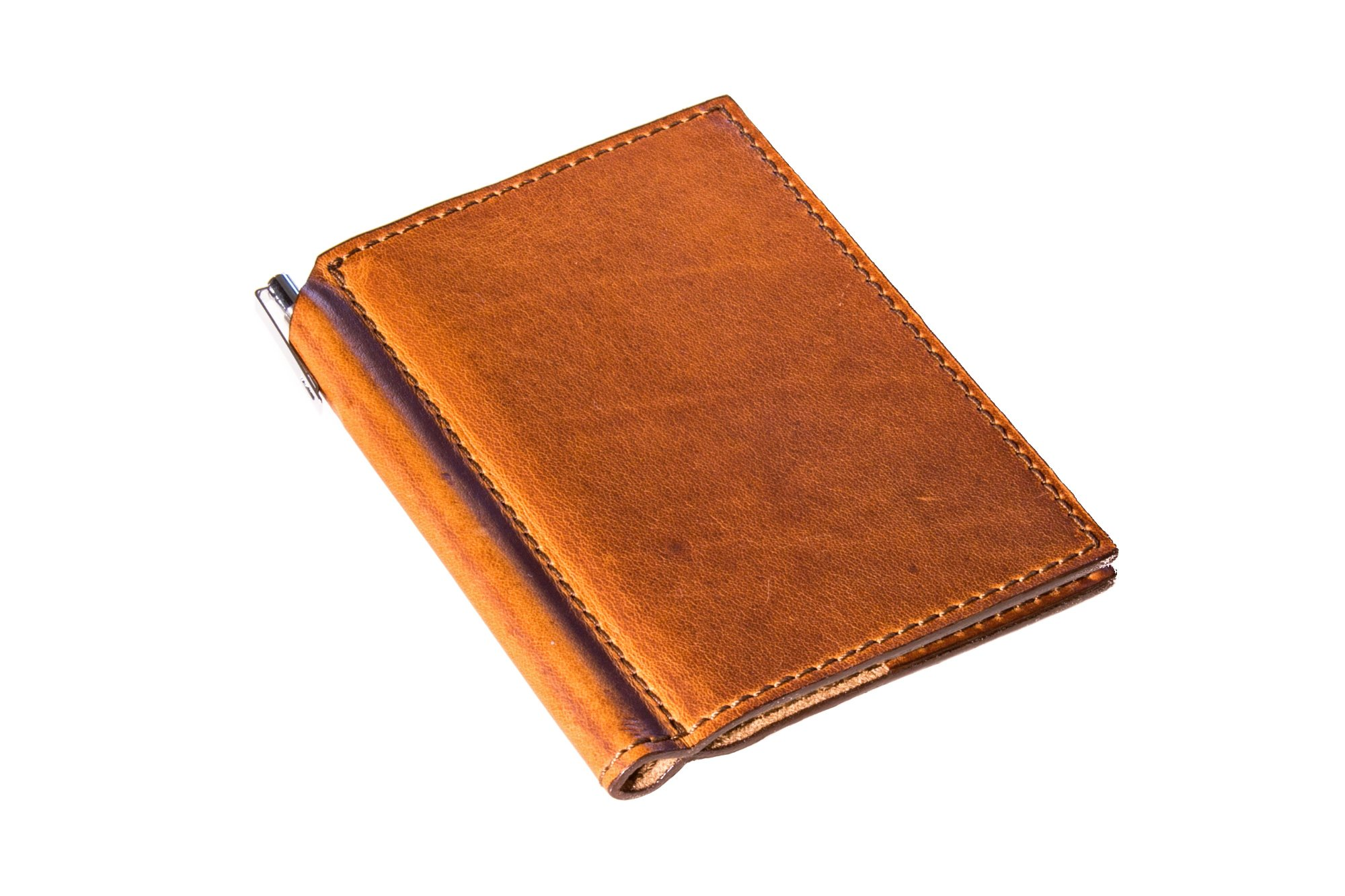 Natural Leather Mini Journal with Pen 3x4 in Horween Leather Cover Extra Small Moleskine Volant Notebook with Pen Holder Refillable Vintage Looking Journal for Men and Women