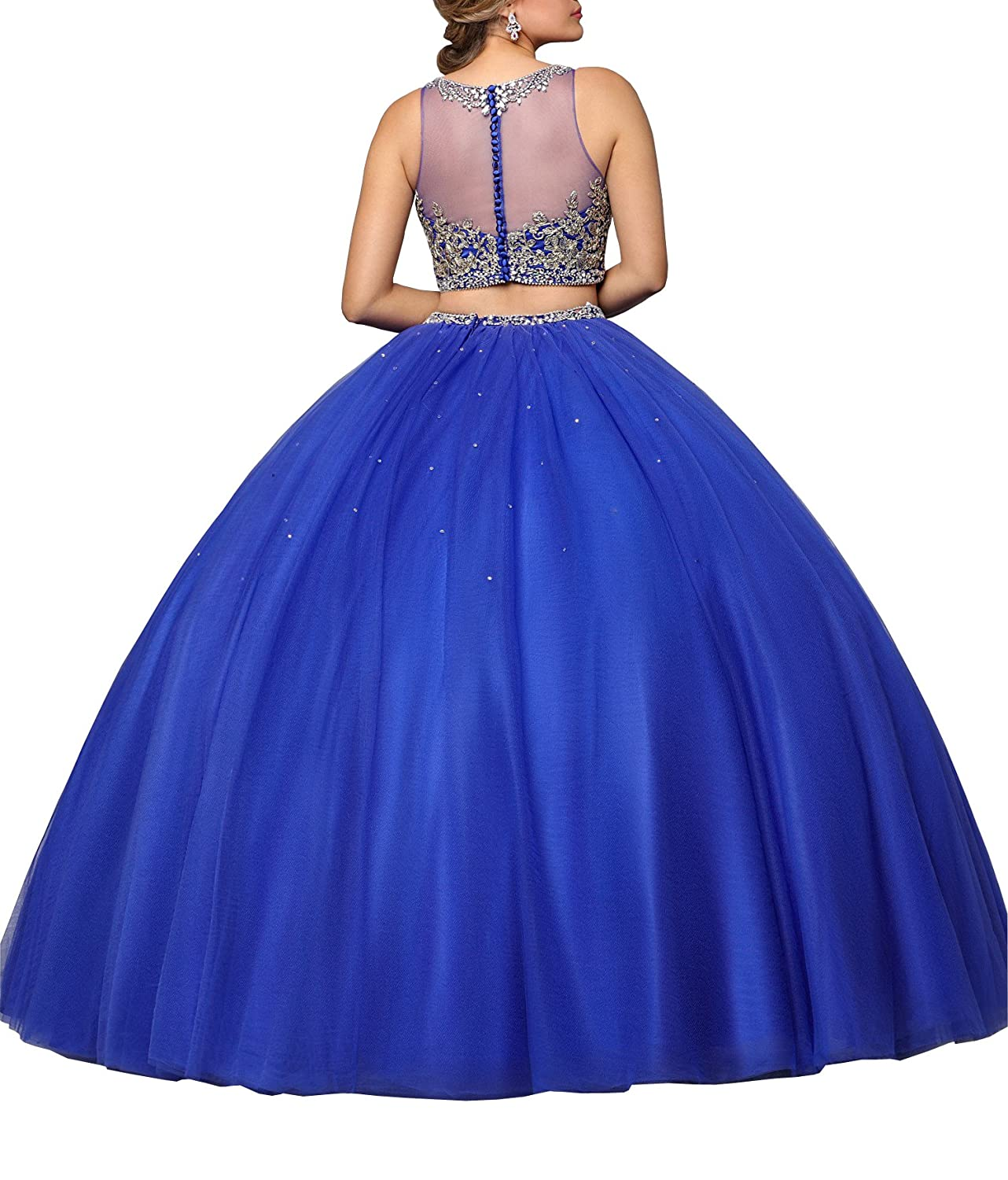 b9c31499f9f Fannydress Gold Embellished Prom Quinceanera Dresses 2 Piece 2019 Long Ball  Gowns Hollow Back Beaded Tulle at Amazon Women s Clothing store