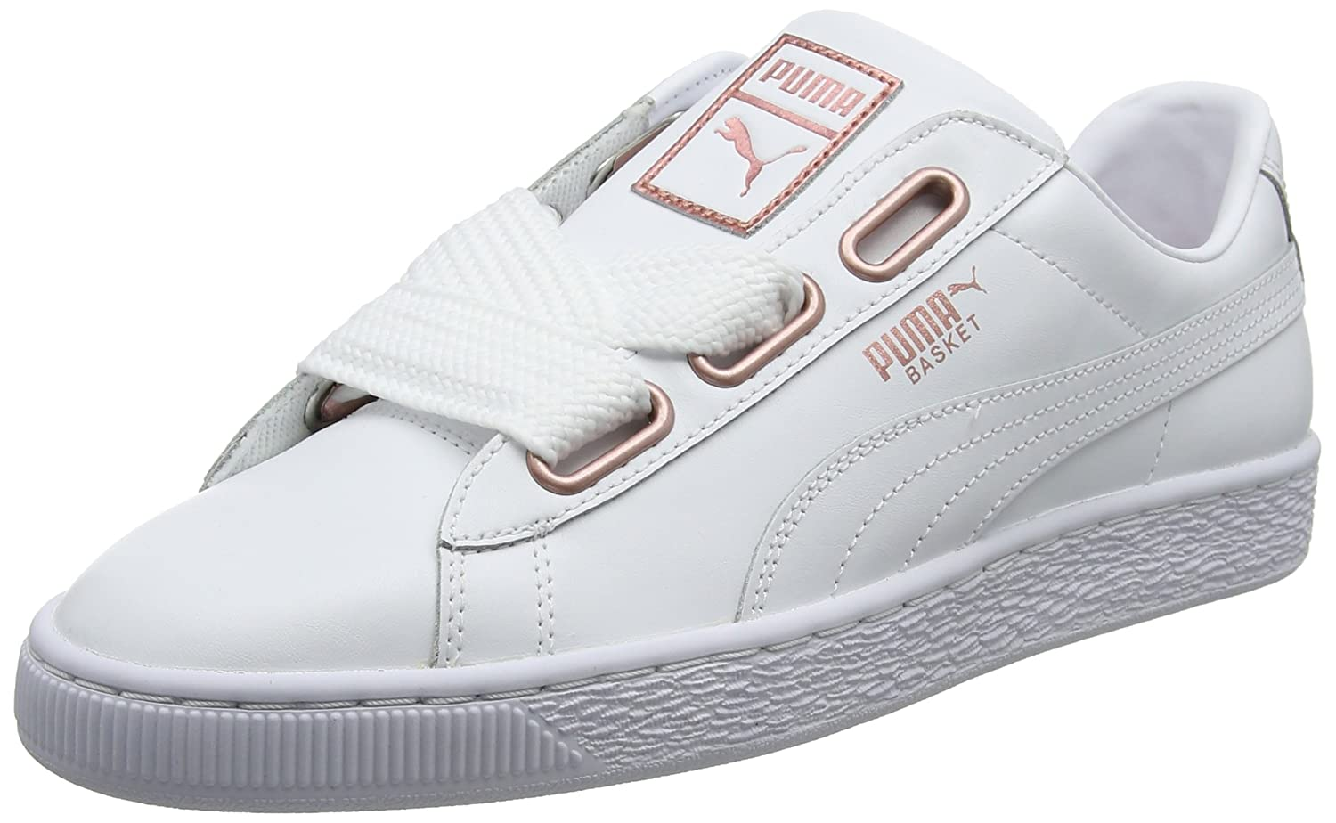 Puma Women s Basket Heart Leather WN s Low-Top Sneakers White-Rose Gold 1125fd340