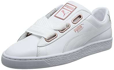 Puma Basket Heart Leather Wns, Zapatillas para Mujer, Blanco White-Rose Gold,