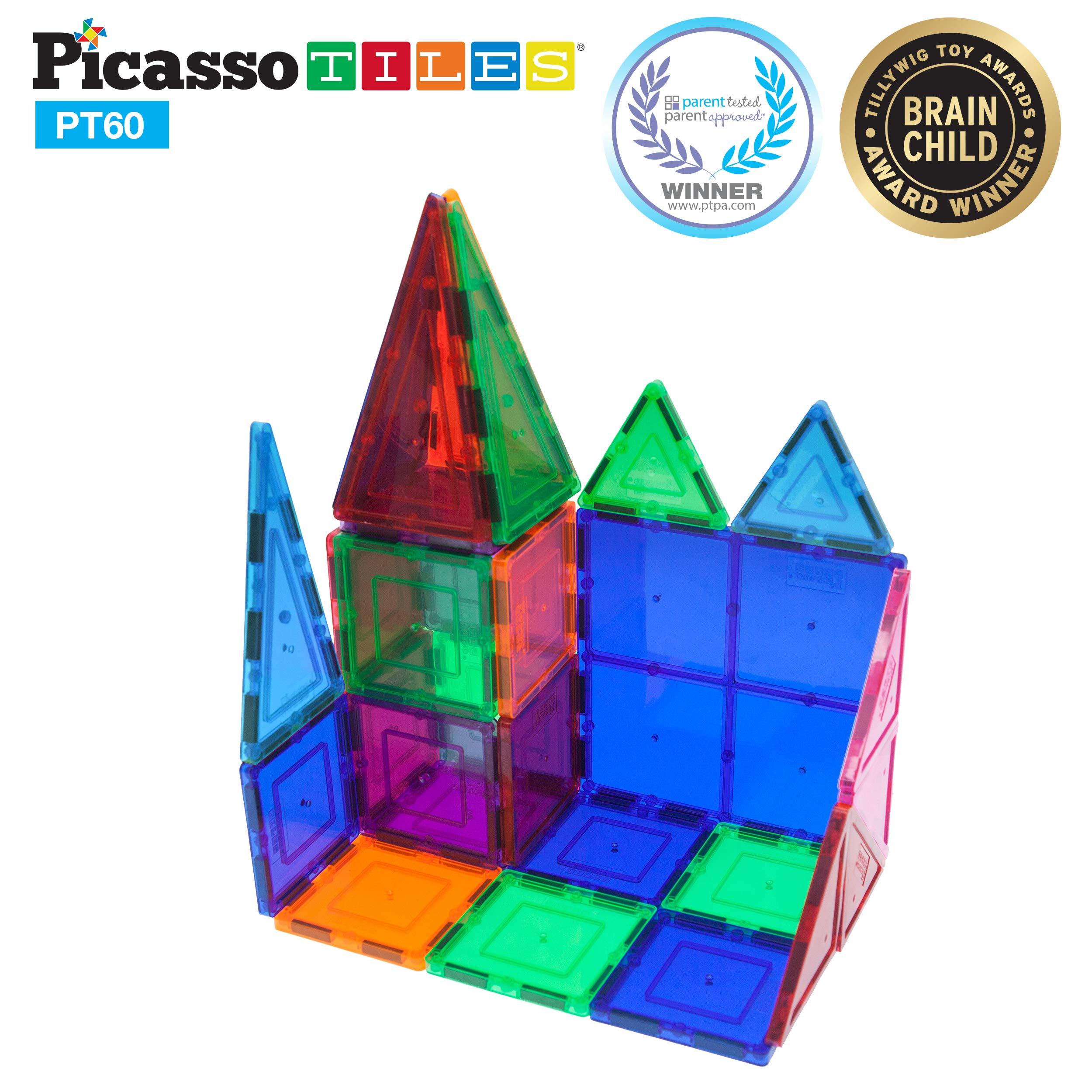 PicassoTiles 60 Piece Set 60pcs Magnet Building Tiles Clear Magnetic 3D Building Blocks Construction Playboards - Creativity beyond Imagination, Inspirational, Recreational, Educational, Conventional by Picasso Tiles