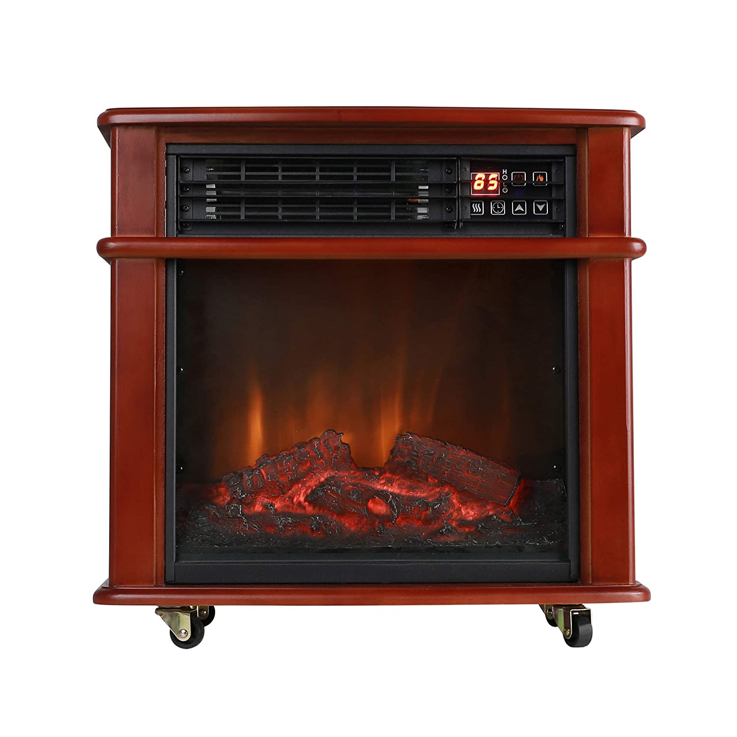 Caesar Fireplace Rolling Mantel 1000W-1500W Overheat Safety Feature with wheels Infrared Quartz Electric Freestanding Insert Heater Stove Black