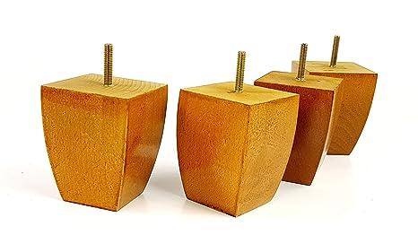 4 x piedini per mobili in legno per mobili gambe per divani sedie