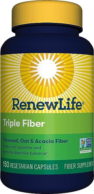 Amazon.com: Tapas de triple fibra orgánica Renew Life 150 ...