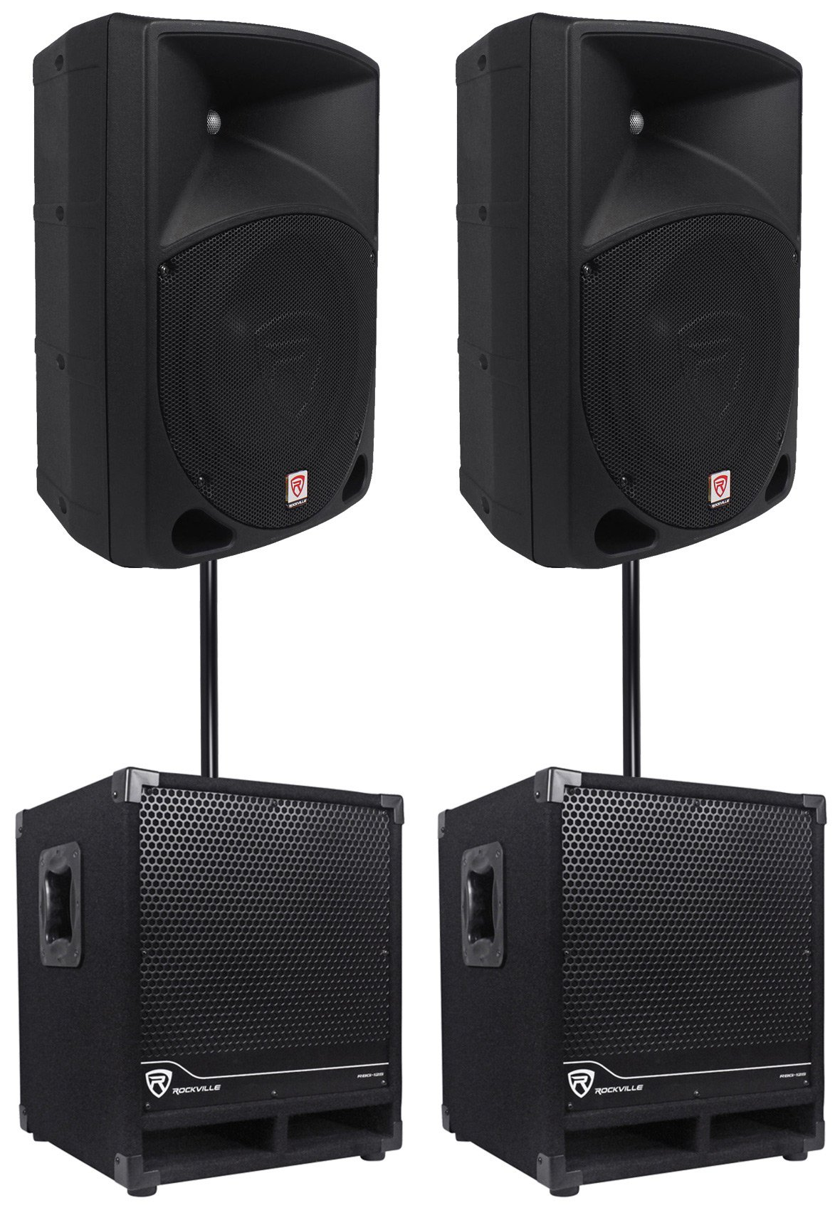 2) Rockville RPG10 10'' Powered 600W DJ PA Speakers+2) Subwoofers+Mounting Poles