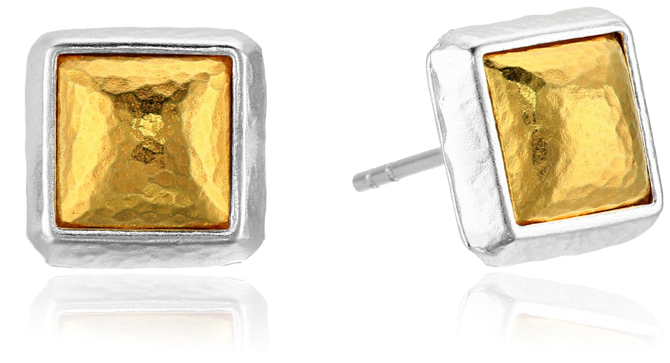 GURHAN ''Amulet'' Sterling Silver Square Vermeil Stud Earrings