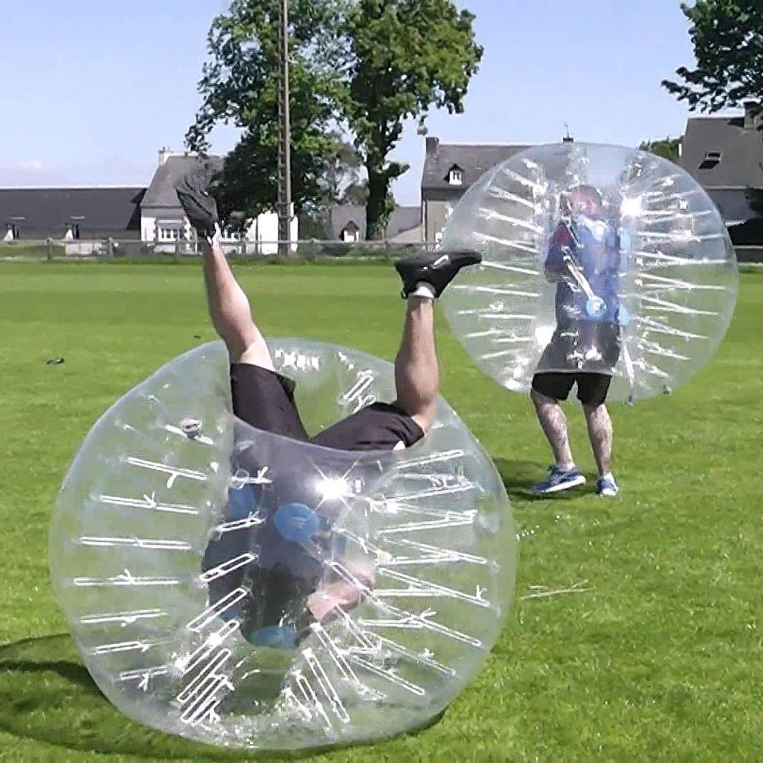 Inflatable Body Bubble Soccer Ball Transparent Human Bumper Knocker Zorb Ball for Adults and Kids 1.5M Diameter [US STOCK] by Evokem