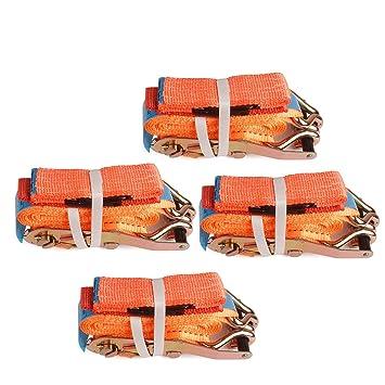 4X spanngurte Auto transporte 2500/5000 daN 2.8 M 50 mm, carraca correa con tensor de carraca, color naranja: Amazon.es: Bricolaje y herramientas