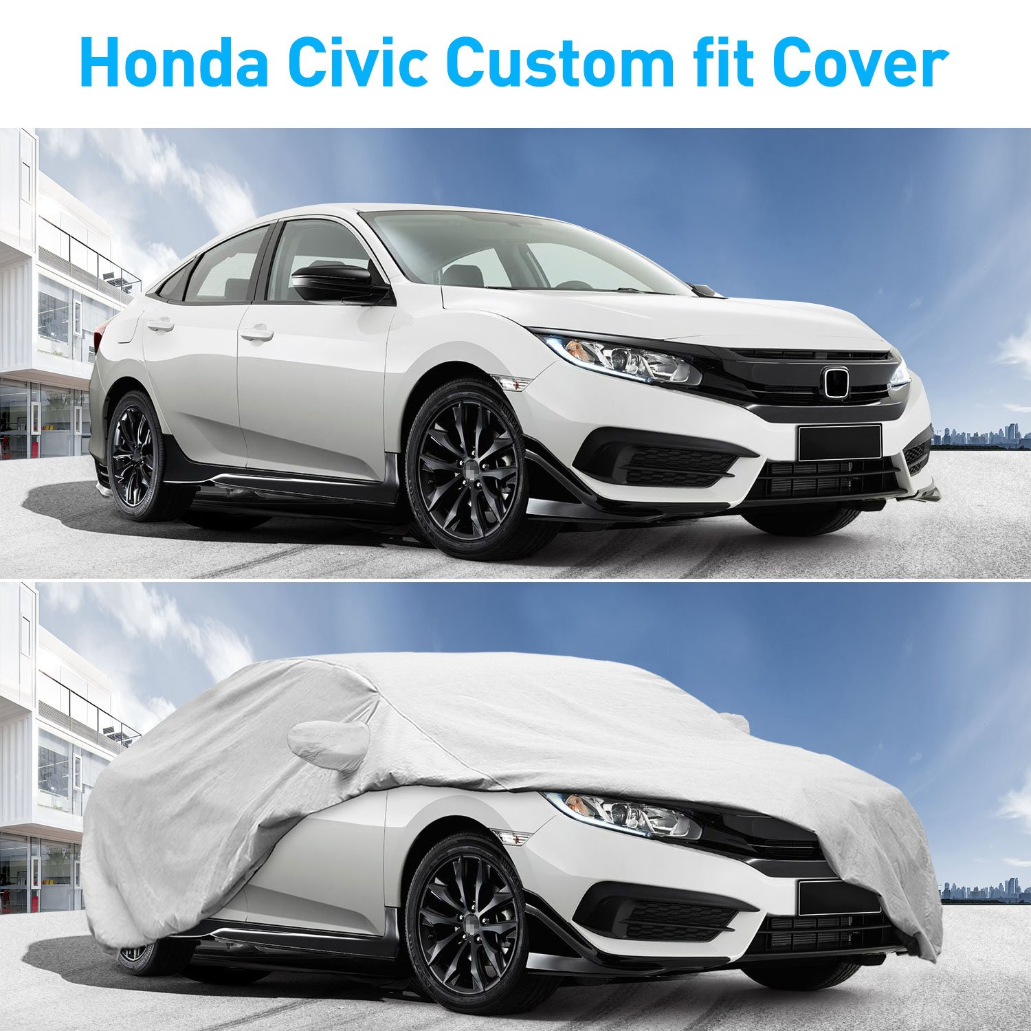 Dustproof All Weather Waterproof Scratch Proof Civic Car Cover Free Windproof Ribbon /& Anti-Theft Lock KAKIT 6 Layers Civic Car Cover for Honda Civic 2010-2017