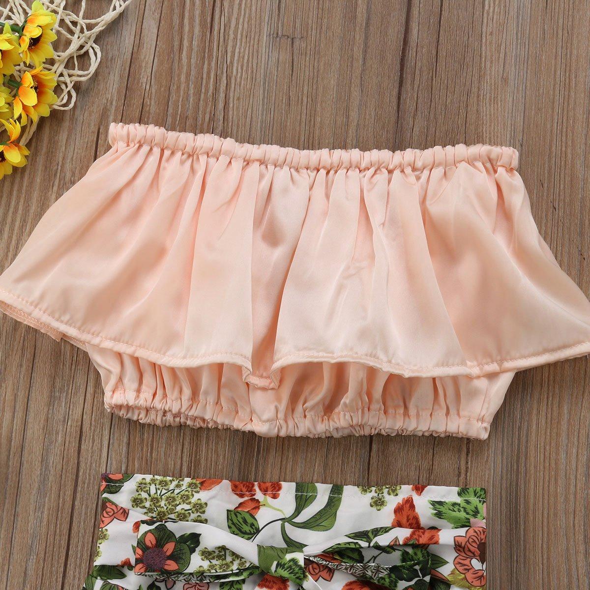 Wide Leg Flower Pants 2PCS Outfit Set 2-7T Toddler Kids Girls Cute Off Shoulder Tube Vest Top