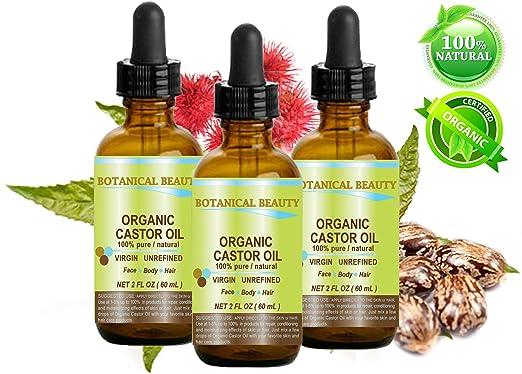 Orgánica Aceite de ricino 100% puro/Natural/fría presionado portador de aceite. 2 fl. oz.-60 ml. Para la piel, cabello, pestañas, cejas y uñas cuidado.