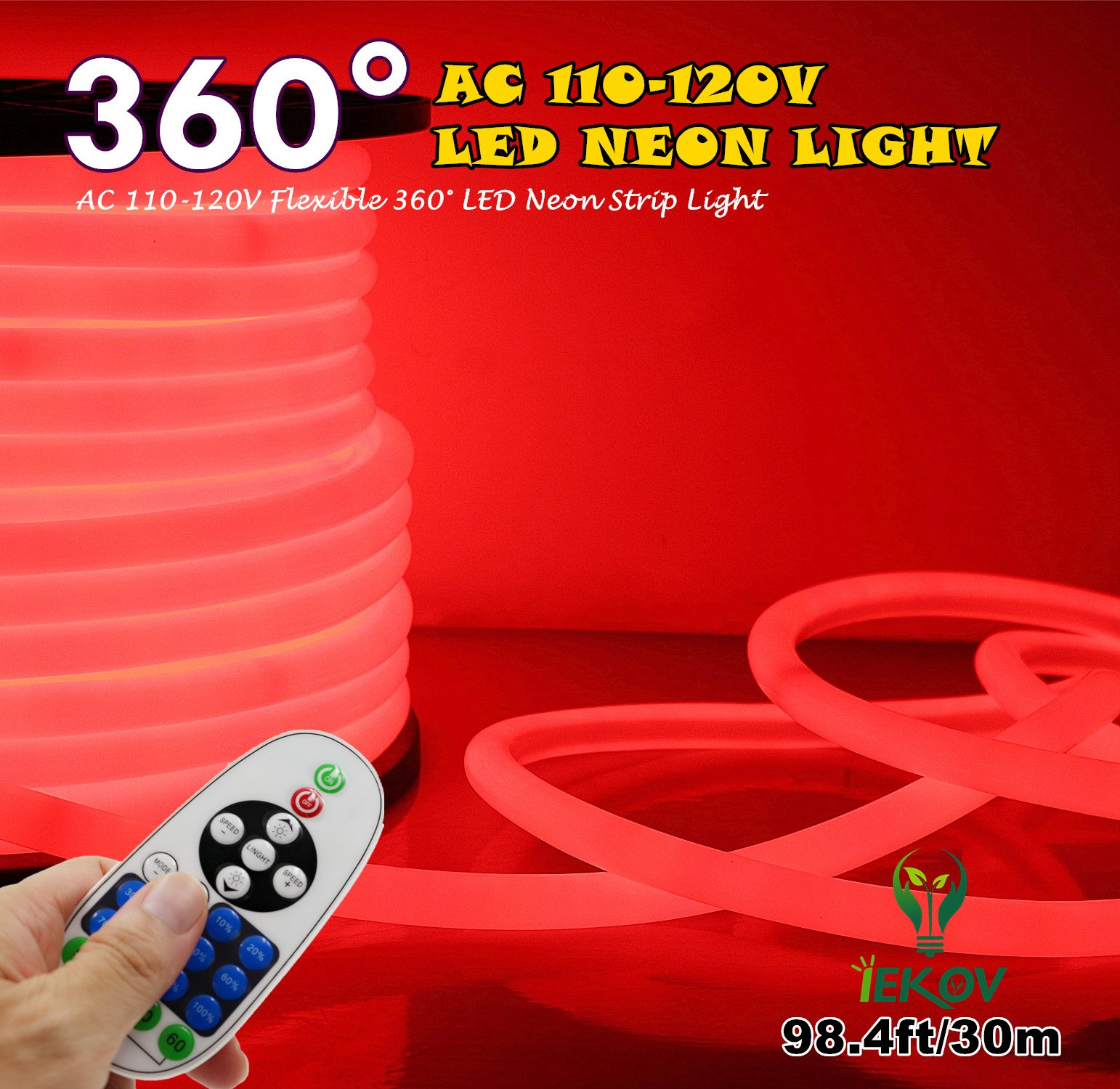[UPGRADE] 360° LED NEON LIGHT, IEKOV™ AC 110-120V Flexible 360 Degree LED Neon Strip Lights, Dimmable & Waterproof NEON LED Rope Light + Remote Controller for Decoration (98.4ft/30m, Red)