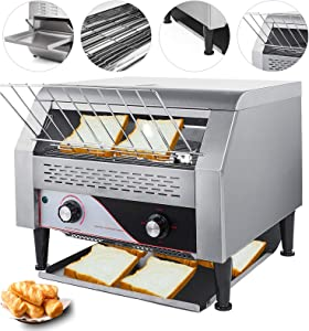 VEVOR 2600W Commercial Conveyor Toaster 450pcs per Hour Stainless Steel 110V 60HZ for Restaurant Breakfast, Sliver