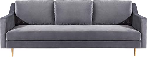 TOV Furniture The Milan Collection Modern Velvet Upholstered Living Room Sofa, Gray