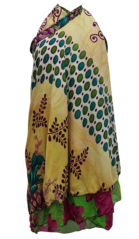 Vintage-Kleid Georgette Magie Wickelrock Plus Größe Kurz Sari Halfter Sarong
