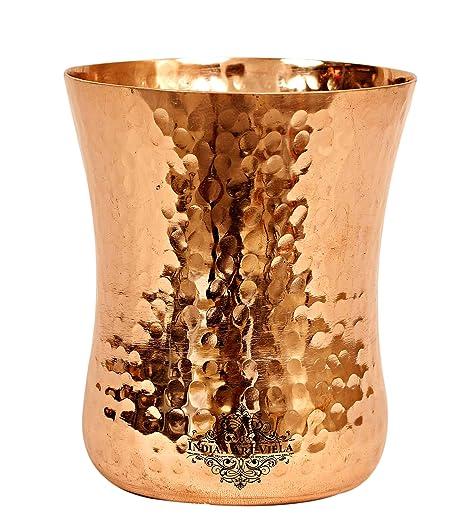 IndianArtVilla Vaso de cristal de cobre martillado curvo ...