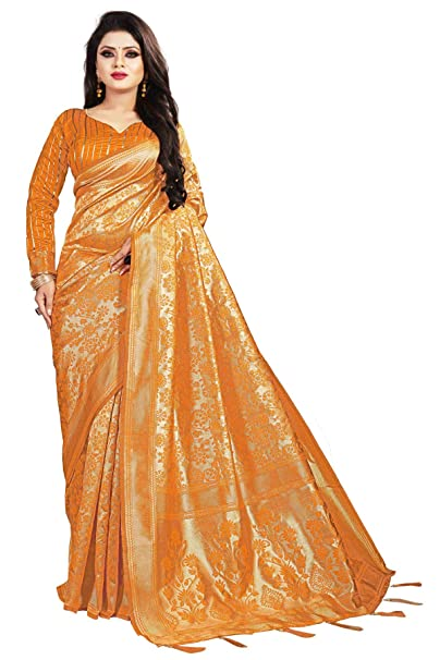 abb8cc74f9b034 SareeShop Women s Jacquard Silk Saree with Blouse Piece (Mustard)   Amazon.in  Clothing   Accessories