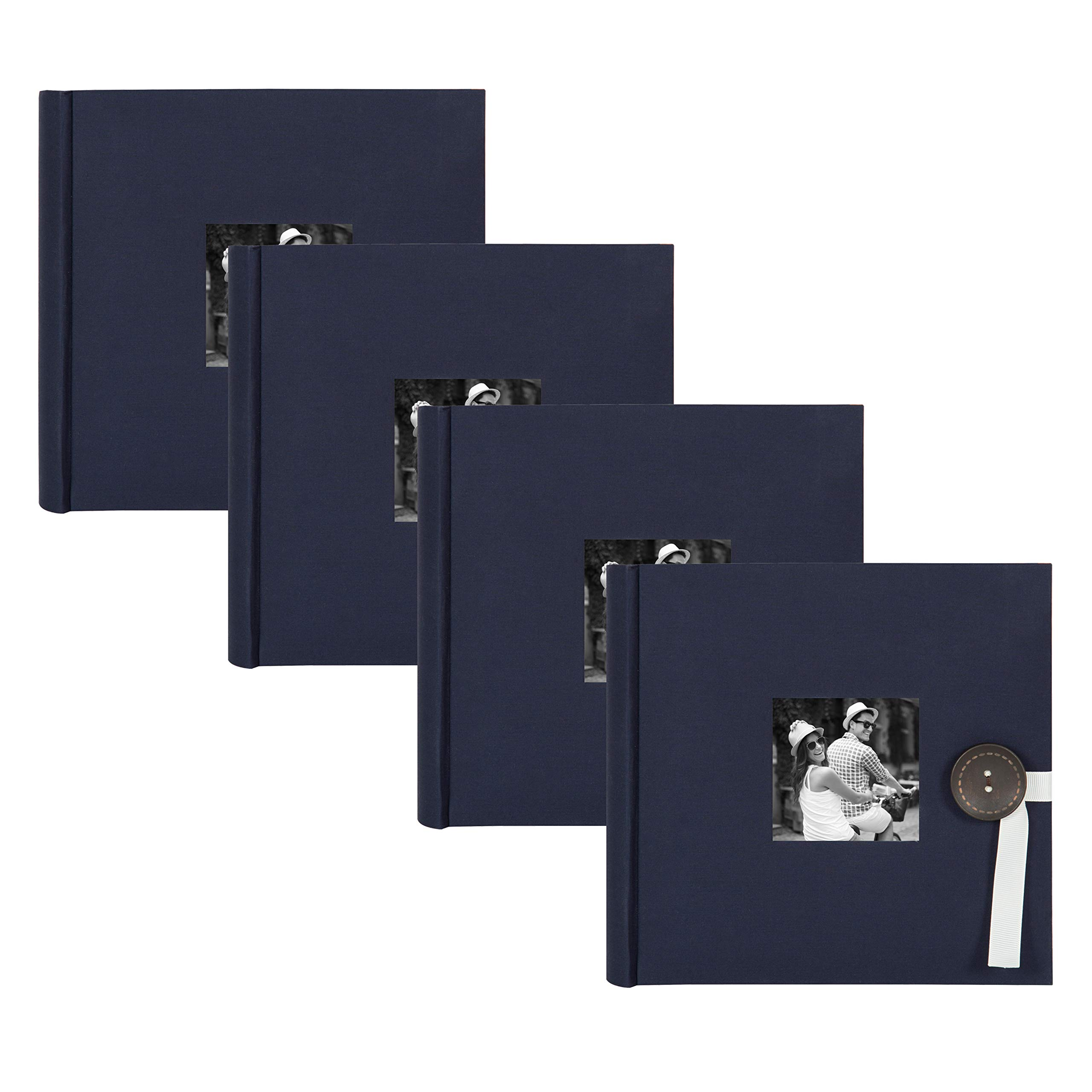 DesignOvation Kim Fabric Photo Albums with Ribbon and Button Closures, Holds 200 4x6 Photos, Set of 4, Navy Blue by DesignOvation