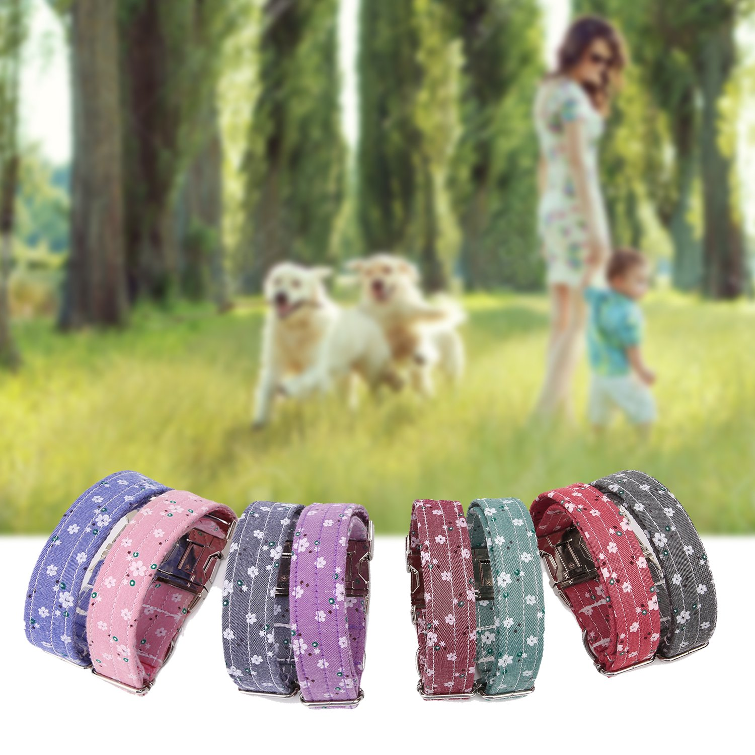 Personalized Dog Collars, Custom Engraved with Pet Name and Phone Number, Adjustable Fabric Cotton ID Collar, Neck 10\