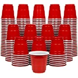 GoPong 2oz Plastic Shot Cups - Pack of 200, Disposable Mini 2oz Party Cups, Red