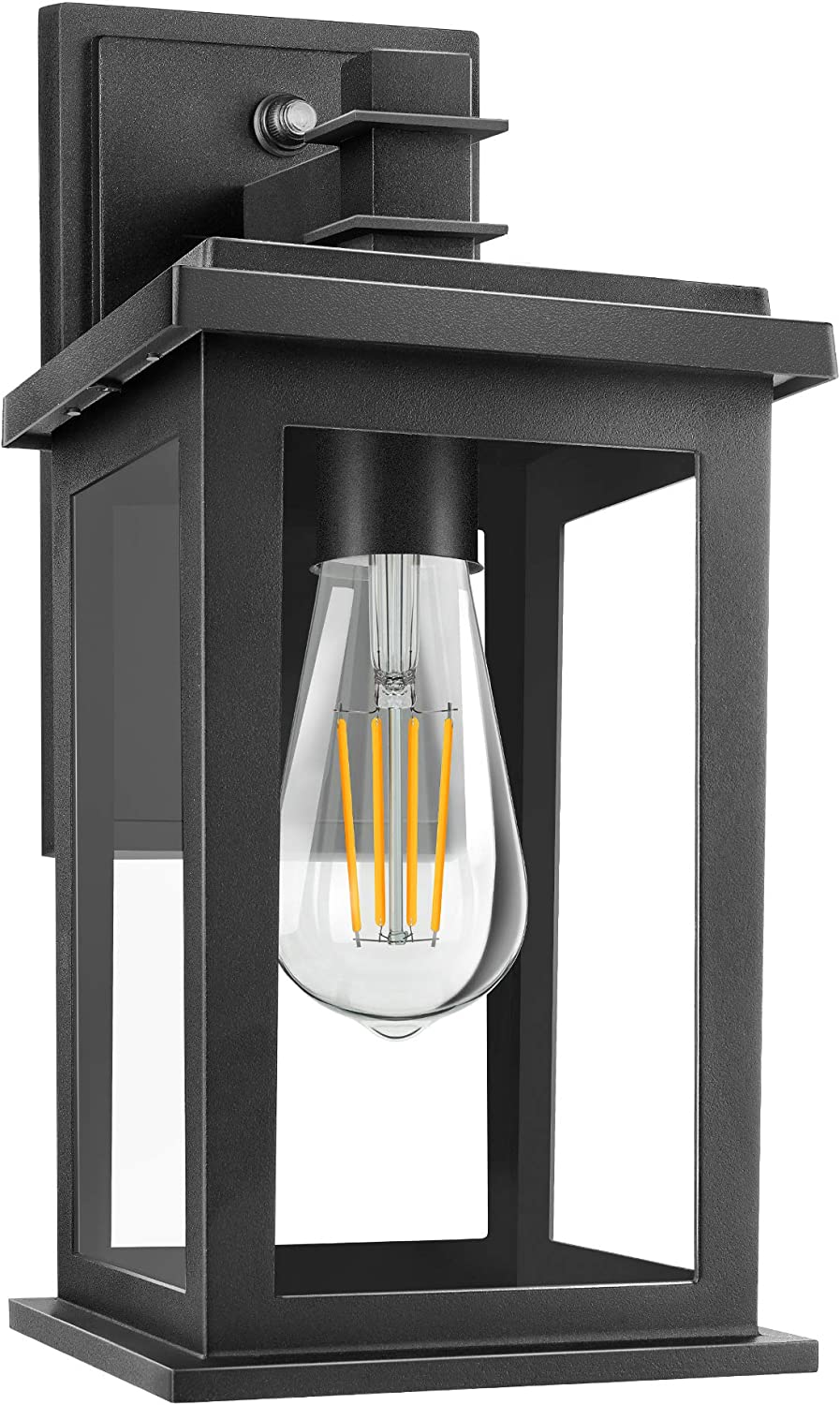 Amazon Com Dusk To Dawn Sensor Outdoor Wall Lantern Exterior Wall Sconce Wall Mount Led Lights With E26 Socket Anti Rust Waterproof Porch Light Fixture With Clear Glass Shade For Garage Doorway Home Improvement