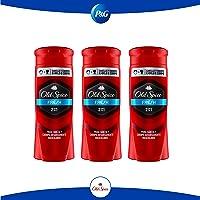 Old Spice Body Wash 2 en 1 Fresh Jabón Líquido para Cabello y Cuerpo, 3 piezas de 400 ml c/u