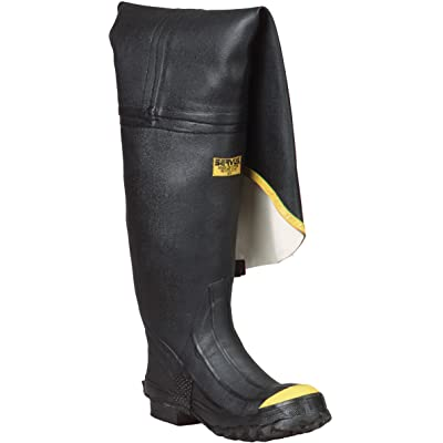 "Ranger 36"" Heavy-Duty Men's Full Rubber Hip Boots with Steel Toe, Black & Yellow (T112): Home Improvement"
