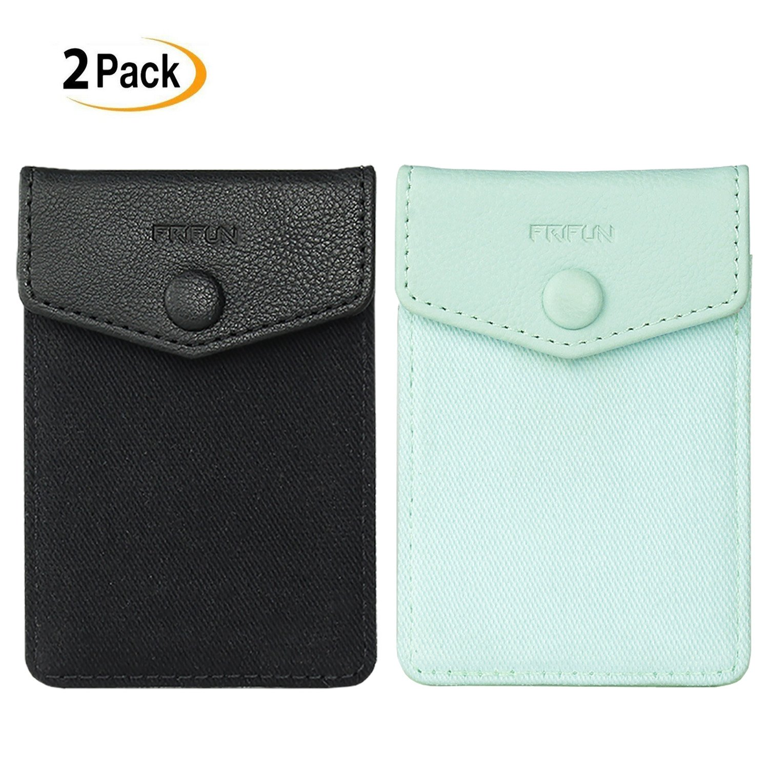 FRIFUN Cell Phone Wallet Ultra-slim Self Adhesive Credit Card Holder Stick on Wallet Cell Phone Leather Wallet For Smartphones Covers Credit Cards and Cash (Black + Mint) 2 packs