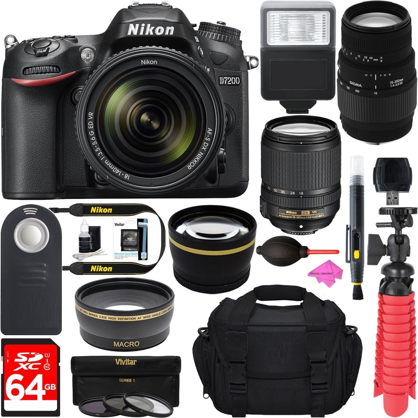 Nikon D7200 Black Digital SLR Camera with 18-140mm VR & 70-300mm f/4-5.6 SLD DG Macro Telephoto Lens + Deluxe Microfiber Cleaning Kit + 64GB Memory Card + Free Premium PRO Accessory Bundle