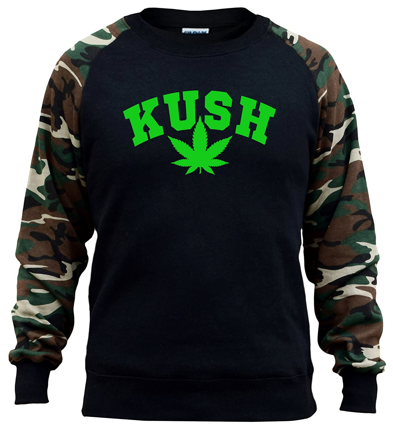 Mens Kush Weed Leaf V566 Black//Camo Raglan Baseball Sweatshirt Black