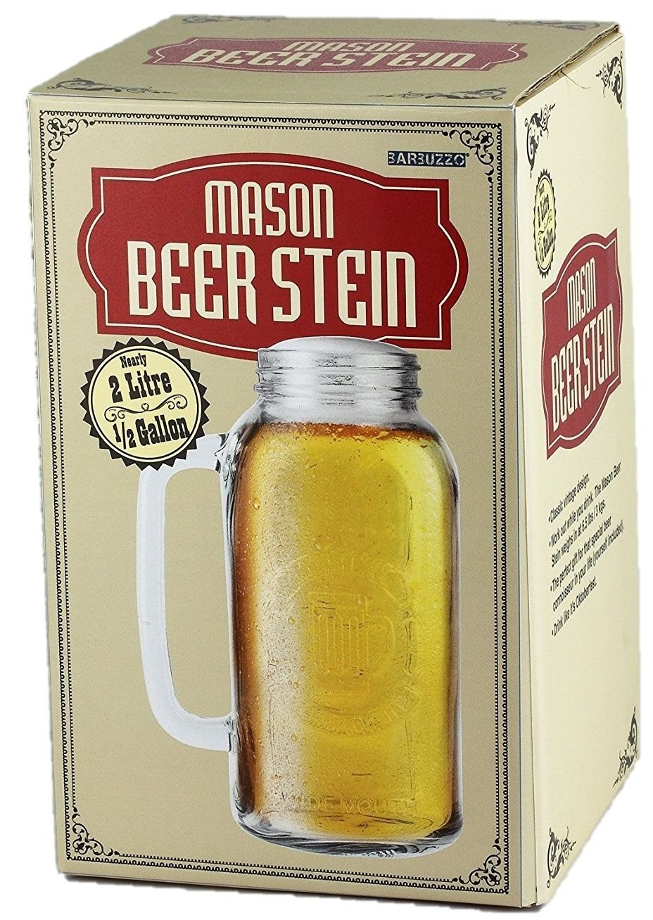 Ginormous Mason Beer Stein 2 Litre Massive Glass Beer Tankard Jug With Handles Barbuzzo
