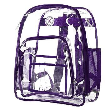 09b0d106dd5a Heavy Duty Clear Backpack See Through PVC Stadium Security Transparent  Workbag | Purple