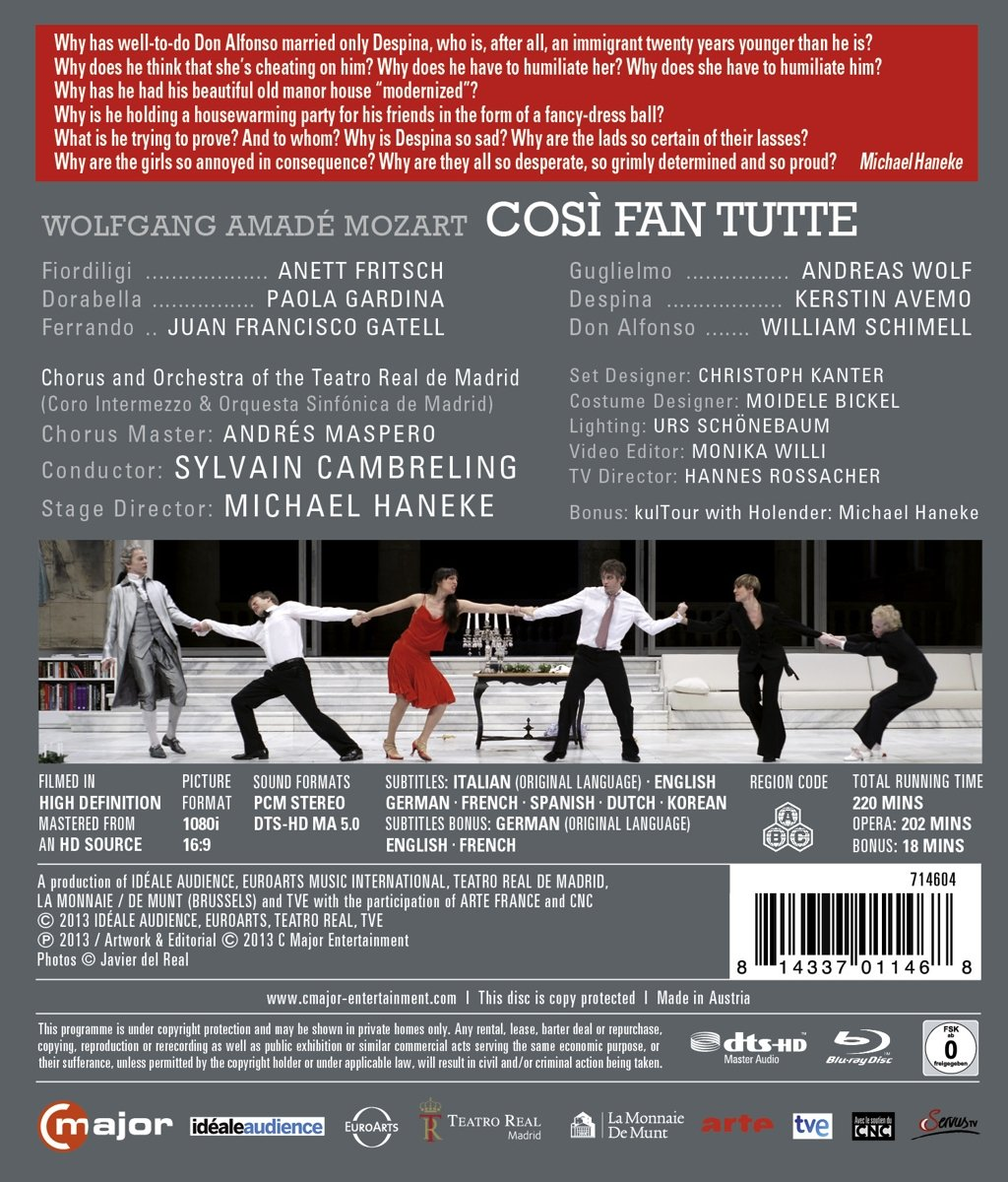 Amazon.com: Mozart: Cosi Fan Tutte (Blu Ray) [Blu-ray ...