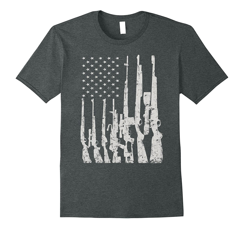 Big American Flag With Machine Guns T-Shirt Gun Flag Shirt-Vaci