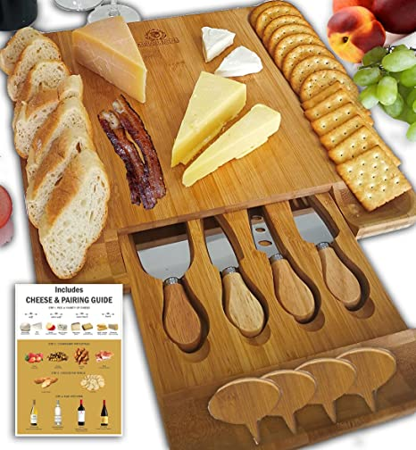 Cheese Board Set Charcuterie Board Cheese Cutting Plate Bamboo Serving Tray with Cutlery & Amazon.com | Cheese Board Set Charcuterie Board Cheese Cutting ...