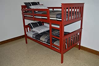 product image for Amish Kids Twin Over Twin Bunk Bed (Paint - Tractor Red)