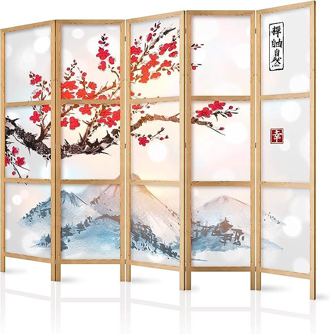 murando - Biombo XXL Flor de Cerezo Montanas 225x171 cm 5 Paneles Lienzo de Tejido no Tejido Tela sintética Separador Madera Design Moda Hecho a Mano Home Office Japón p-B-0002-z-c: Amazon.es: Hogar