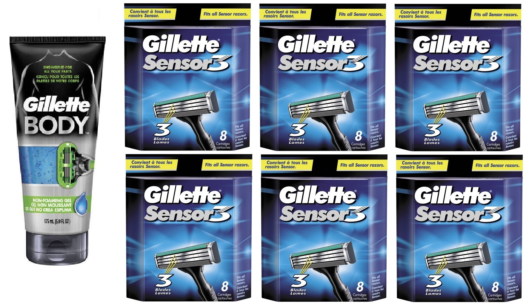 Gillette Body Non Foaming Shave Gel for Men, 5.9 Fl Oz + Sensor3 Refill Blades 8 Ct. (6 Pack) + FREE Luxury Luffa Loofah Bath Sponge On A Rope, Color May Vary