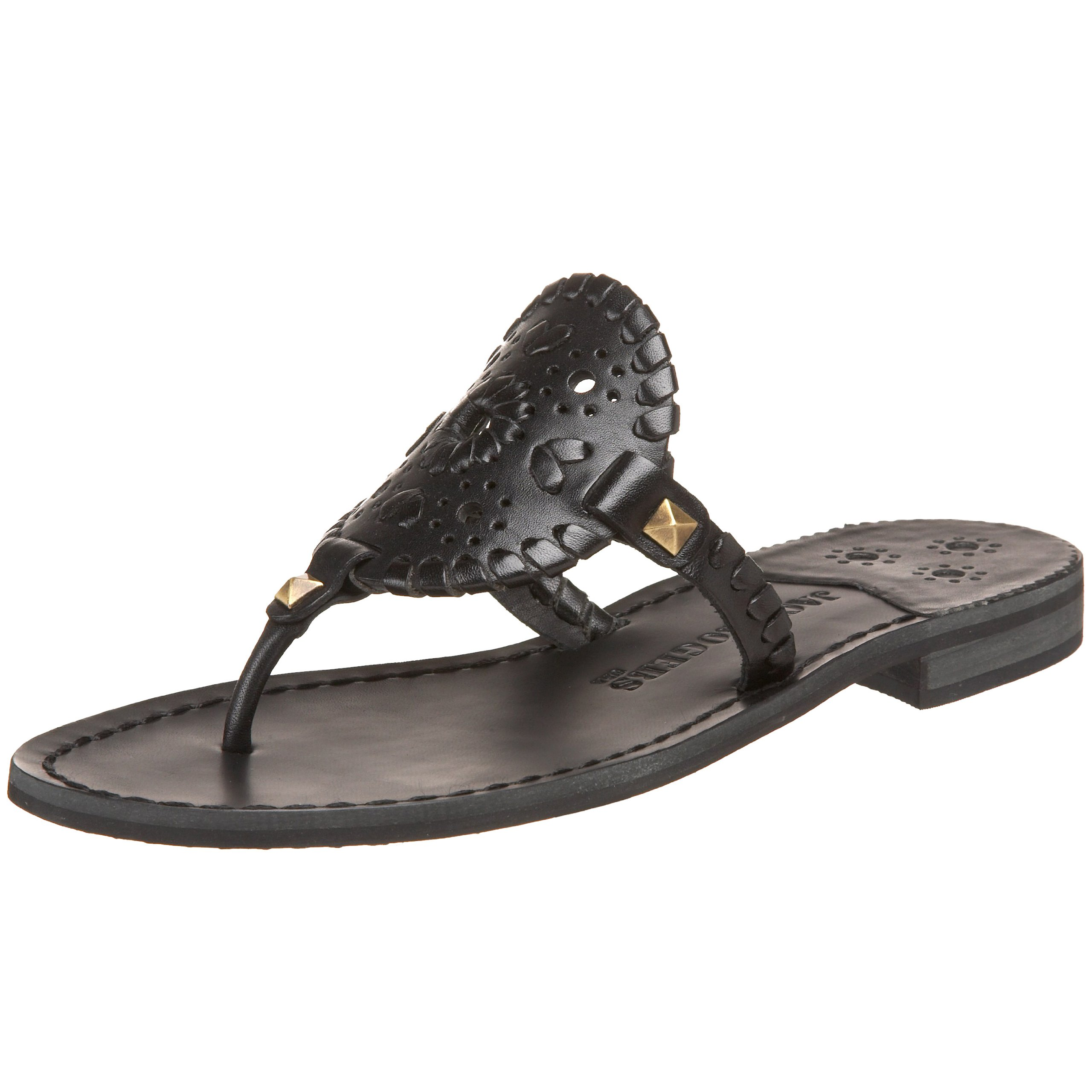 Jack Rogers Women's Georgica Thong Sandal,Black,6 M US