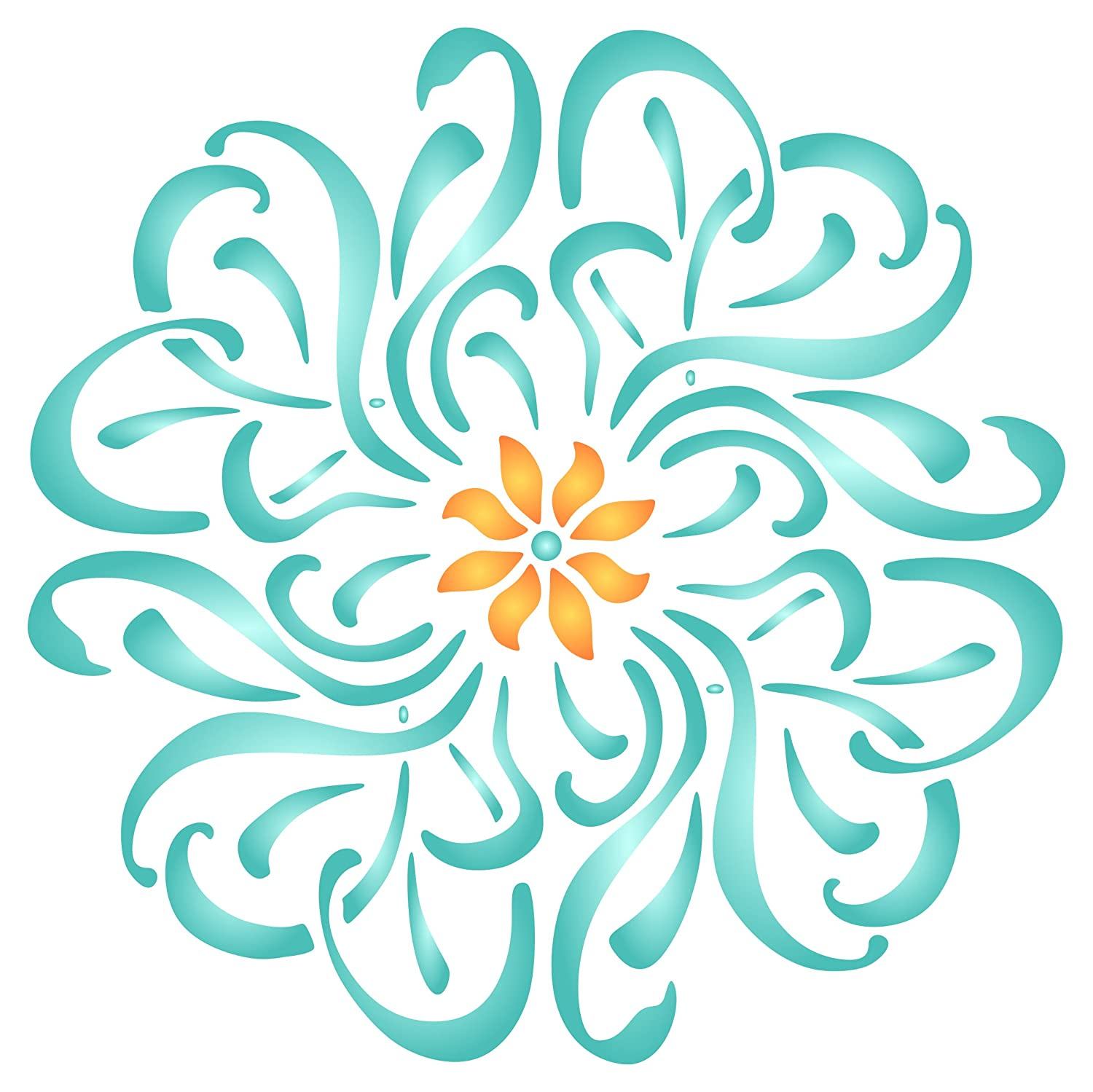 Flower Mandala Stencil - 14 x 14 inch (L) - Reusable Floral Flowers Flora  Plants Wall Stencil Template - Use on Paper Projects Scrapbook Journal  Walls