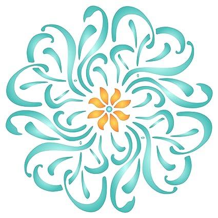 amazon com flower mandala stencil 10 x 10 inch m reusable