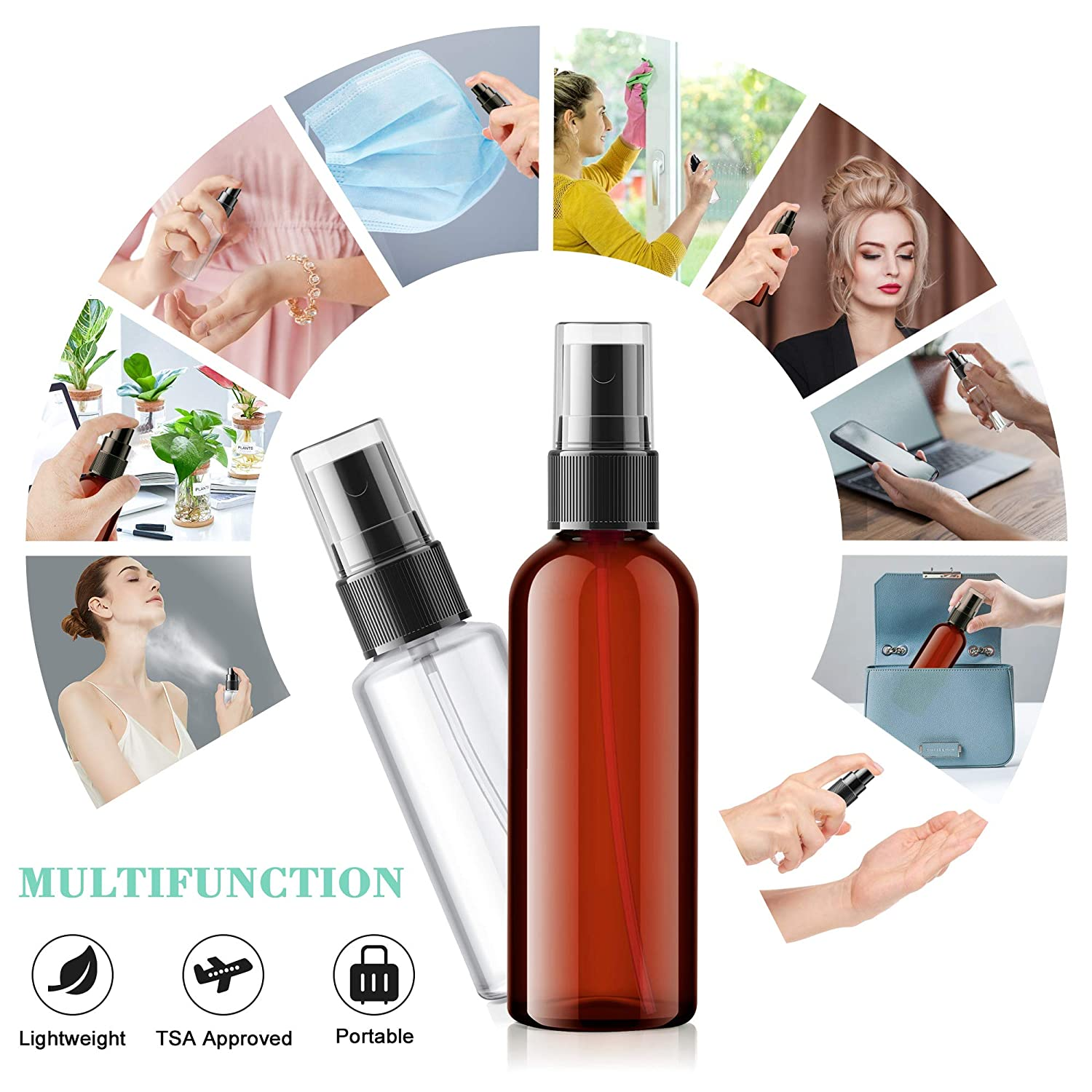 Spray Bottles, Jornarshar 8 Pcs Fine Mist Bottles, Empty Refillable Container for Hand Sanitizer, Essential Oils, Cleaning Products, or Aromatherapy - 3.4oz x2, 2oz x2, 1.7oz x2, 1oz x2 : Beauty