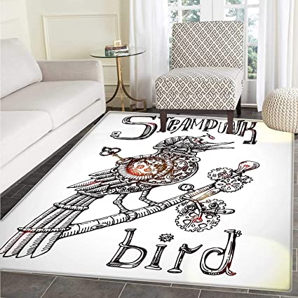 87ff428e5ccbb Surrealistic Dining Room Home Bedroom Carpet Floor Mat Steampunk Bird  Mechanical Animal Modern Times Fiction Print