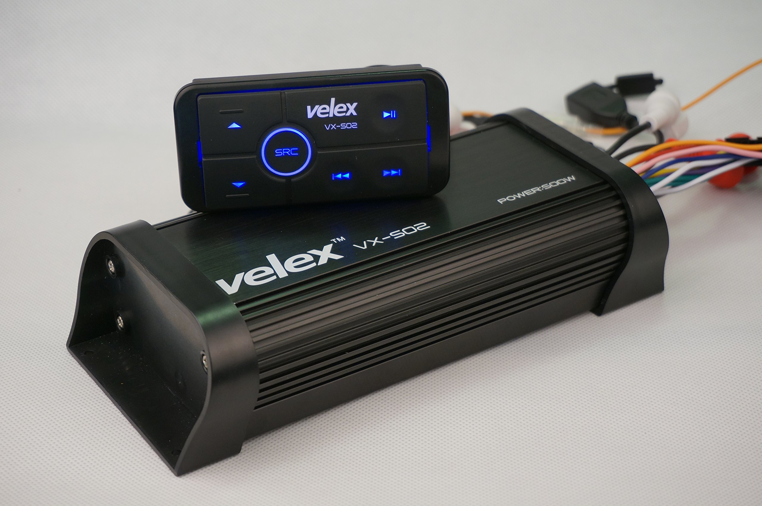 Water Resistant Bluetooth Marine 4 Channel Class A/B Amplifier Media Stereo on Boats UTV ATV Golf Carts and Cars by velex