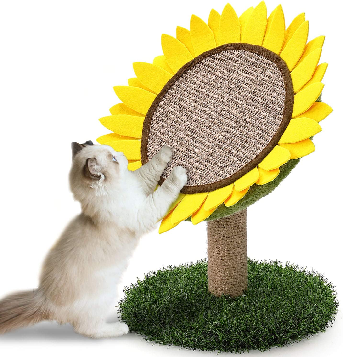 Cat Scratching Post, Sunflower Claw Scratching Post for Kitty, Natural Sisal Scratcher Board, Cute Furniture Interactive Activity Pad Toys for Kitten & Cat, 18x12 Inch