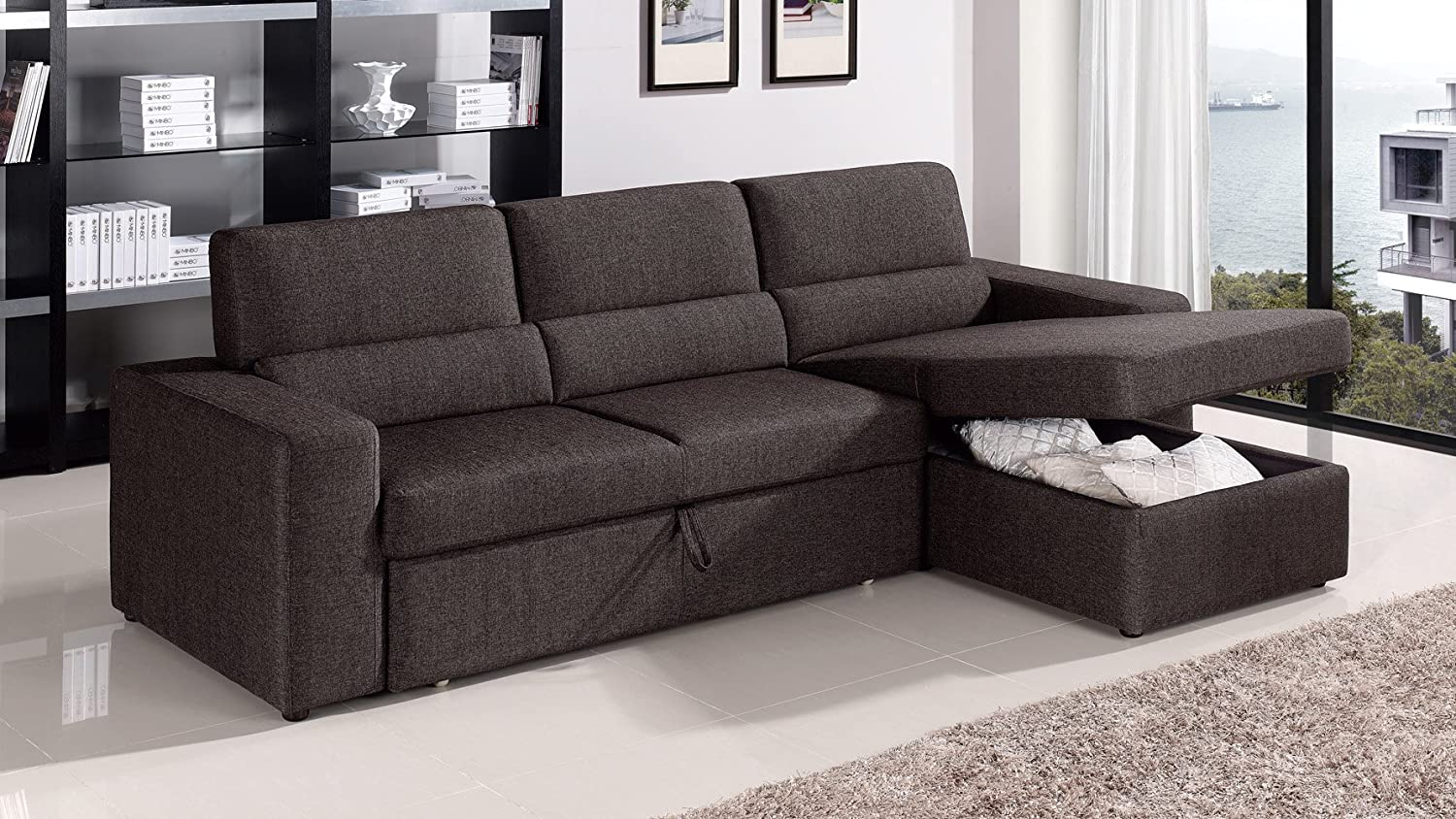 Amazon Black Brown Clubber Sleeper Sectional Sofa Right