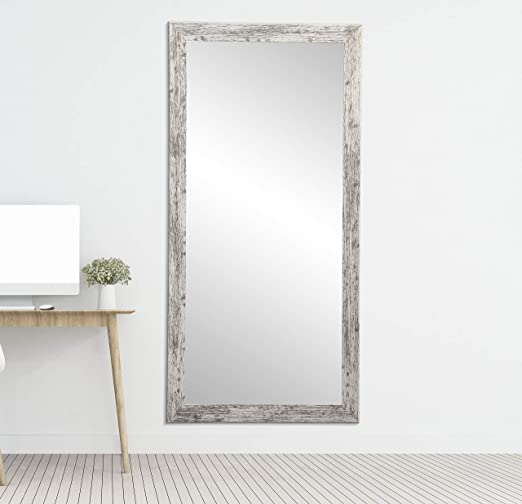Amazon Com Brandtworks Barn Wood Full Length Floor Vanity Wall Mirror 32 X 66 Heavy Distressed White Gray Home Kitchen