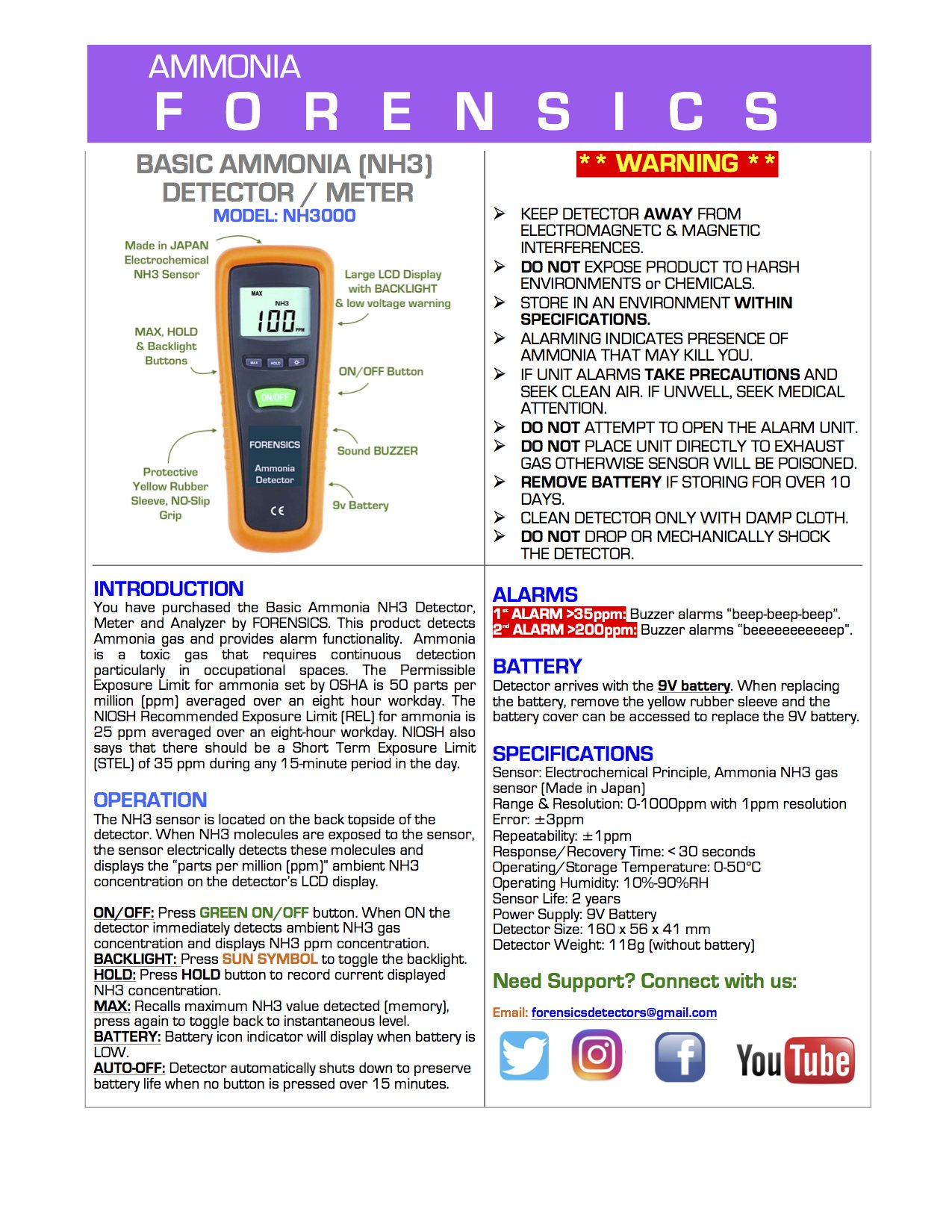 Basic Ammonia NH3 Detector, Meter and Analyzer by FORENSICS | 0-1000ppm with 1ppm resolution & error <5ppm | Business & Industrial Use | Soft Touch Rubber Grip | Large Display & Backlight |